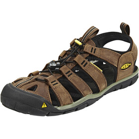 Keen Clearwater CNX Leather Sandalen Heren, dark earth/black